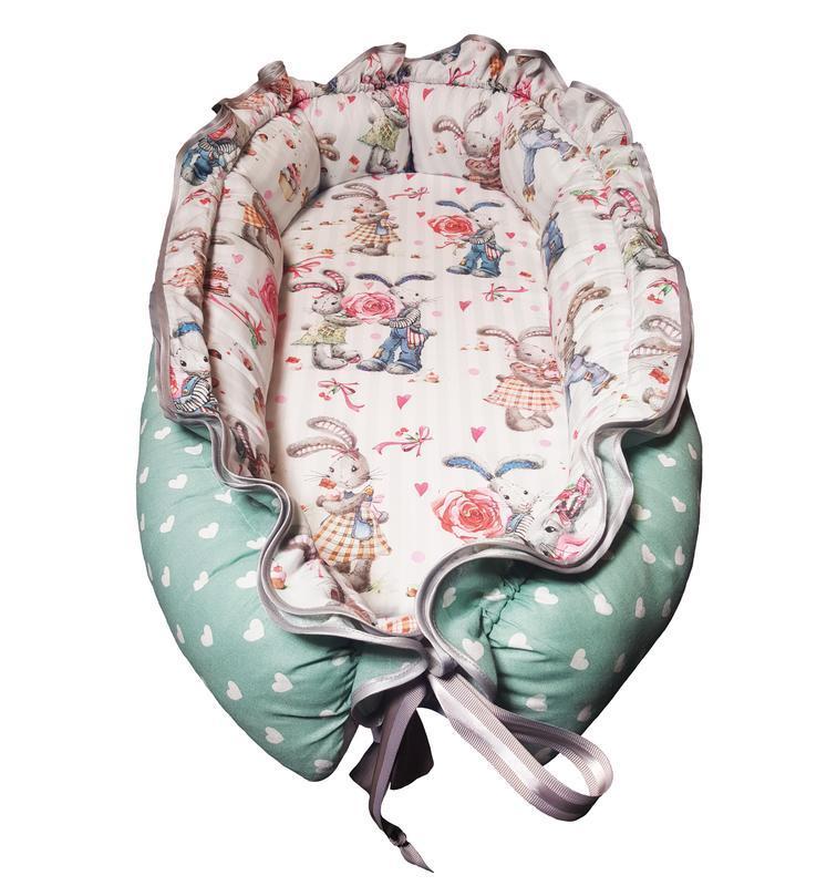 Зайчики и сердечки Кокон-гнездышко для новорожденных 0-6 мес. Kuzya Production