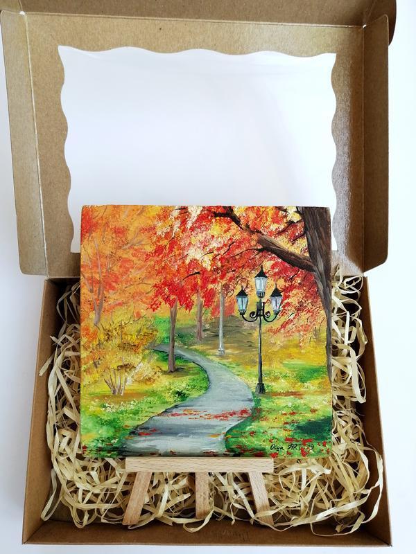 Миниатюра маслом осенний парк, Красивая осень, Фонари в парке, Тропинка в лесу, Пейзаж осень