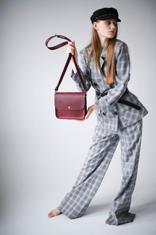 Сумка кожаная женская кросс-боди марсала (ручная работа), сумка кросс-боди с широким ремнем