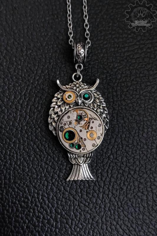 Сова- кулон с настоящим часовым механизмом в стилях steampunk clockpunk (в наличии 1 шт.) №665461 - купить в Украине на Crafta.ua