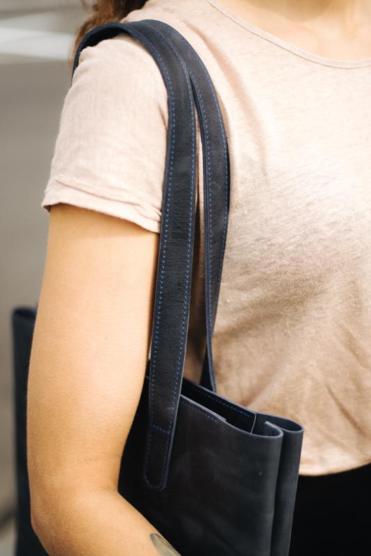 Сумка шопер, Женская сумочка из натуральной кожи синего цвета