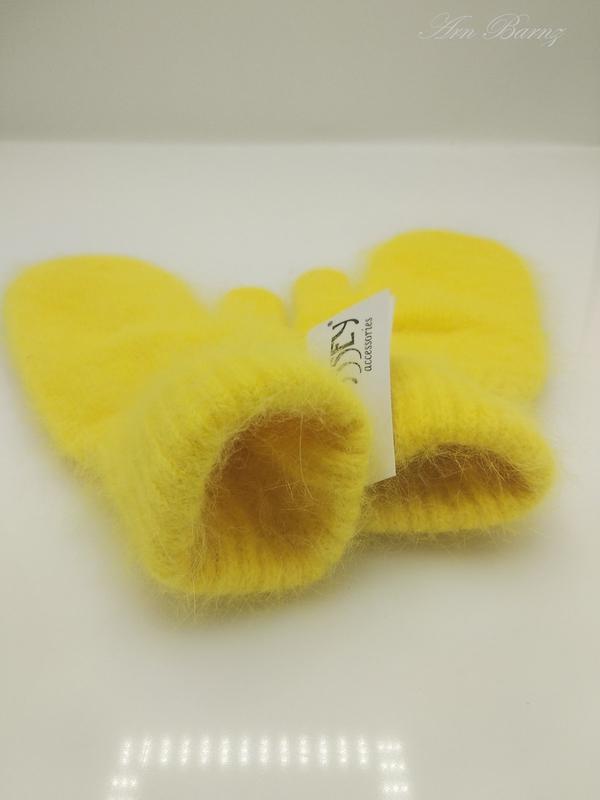 Варежки из Ангоры (Кролик) Желтый.