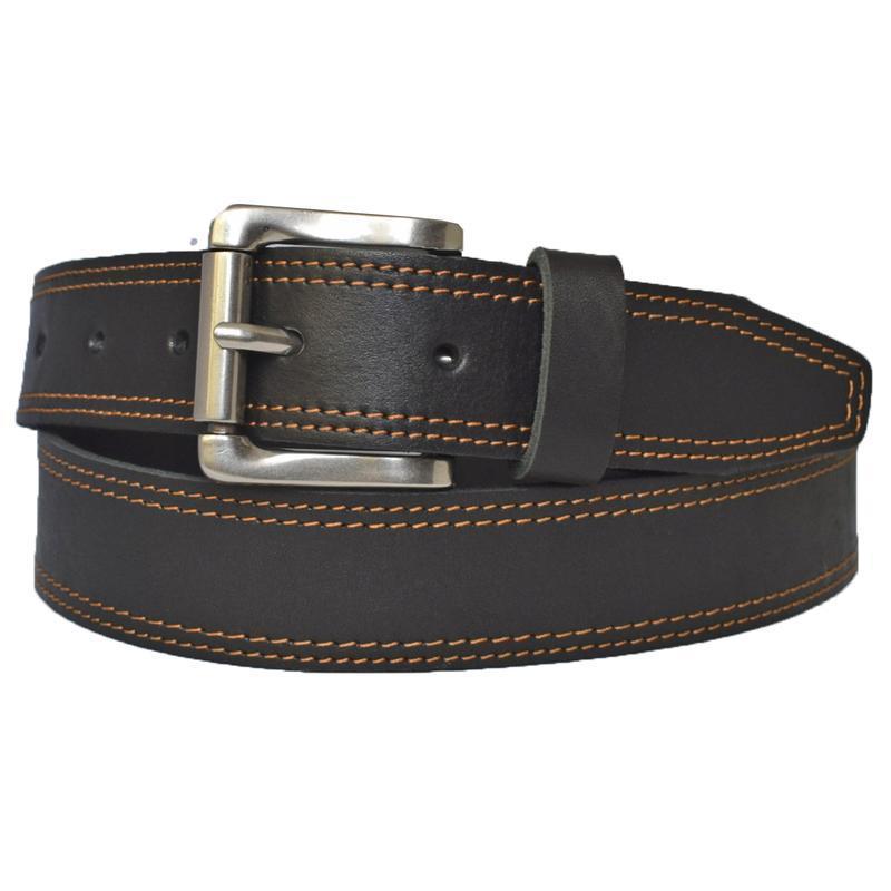 Ремень кожаный черный мужской прошитый с терракотовой строчкой под джинсы Eduard
