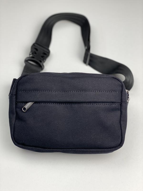 Поясная сумка мужская городская текстильная черная