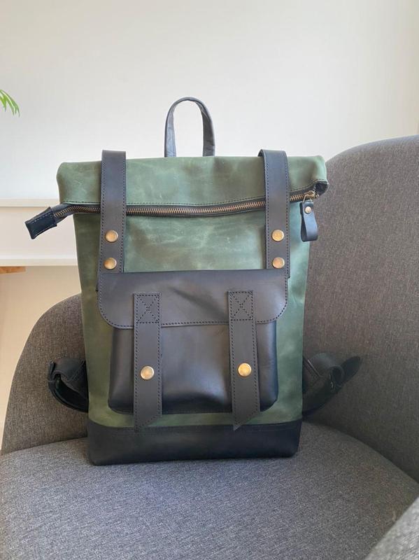 Стильный винтажный кожаный рюкзак, рюкзак ролл, кожаный рюкзак