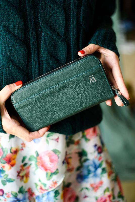 Портмоне клатч на молнии для денег, документов и смартфона