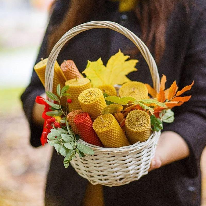 Натуральные свечи из цветной вощины