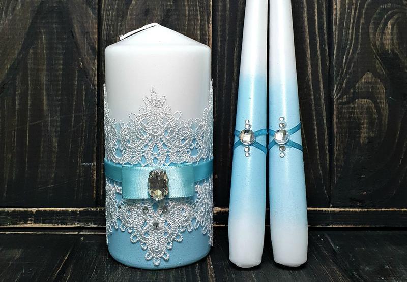 Свадебные свечи «Семейный очаг» голубые