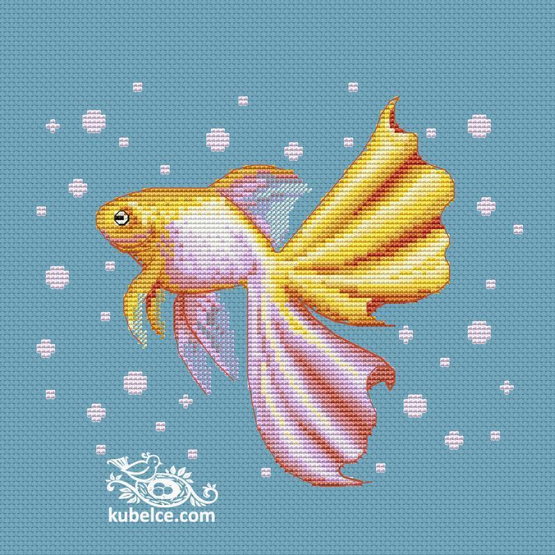 """Схема для вишивання хрестиком """"Золота рибка""""CN-2004-PDF"""