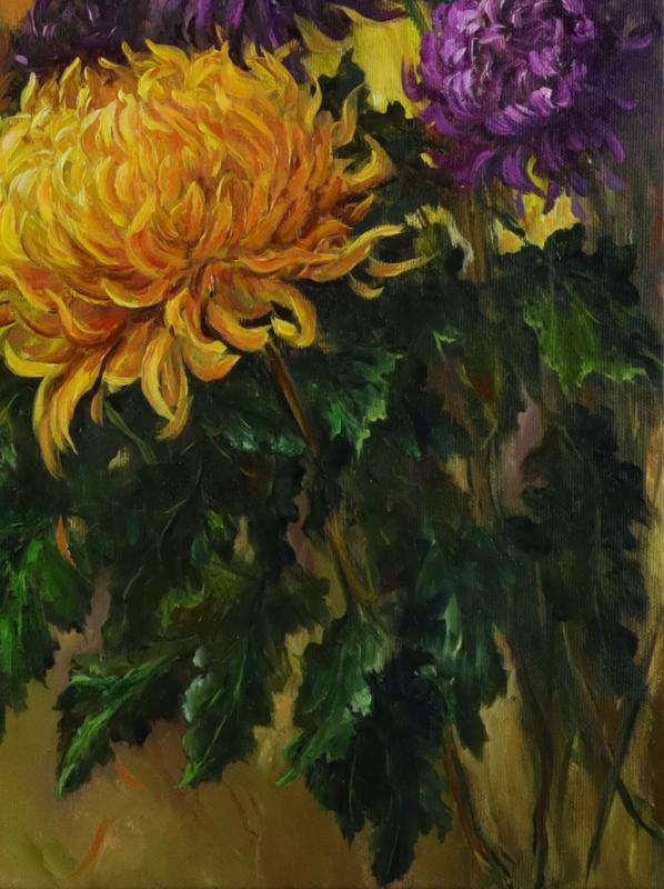 "Картина маслом ""Цветы осени"" 60х45 см, холст на подрамнике, масло"