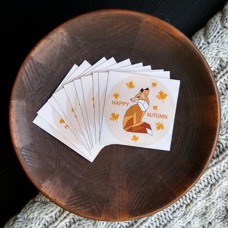 Осенняя наклейка рыжая Лисичка 8 шт. Стикер для блокнота Осень. Сезонный стикер для планера с Лисой