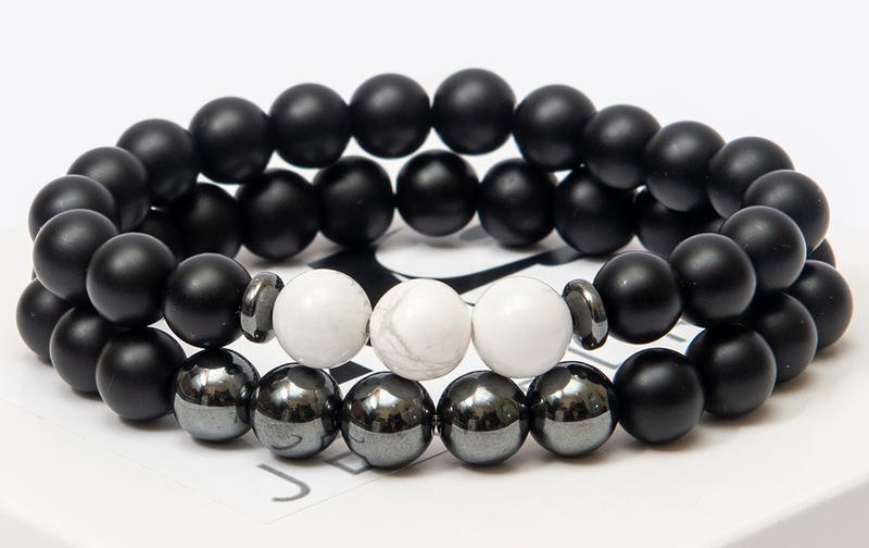 Парные браслеты DMS Jewelry из шунгита, гематита, кахолонга DOUBLE WHITE TRIPLE