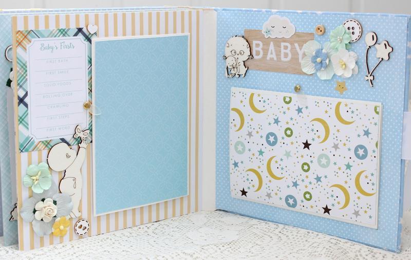 Скрап альбом для новорожденного мальчика , фотоальбом для малыша на годик