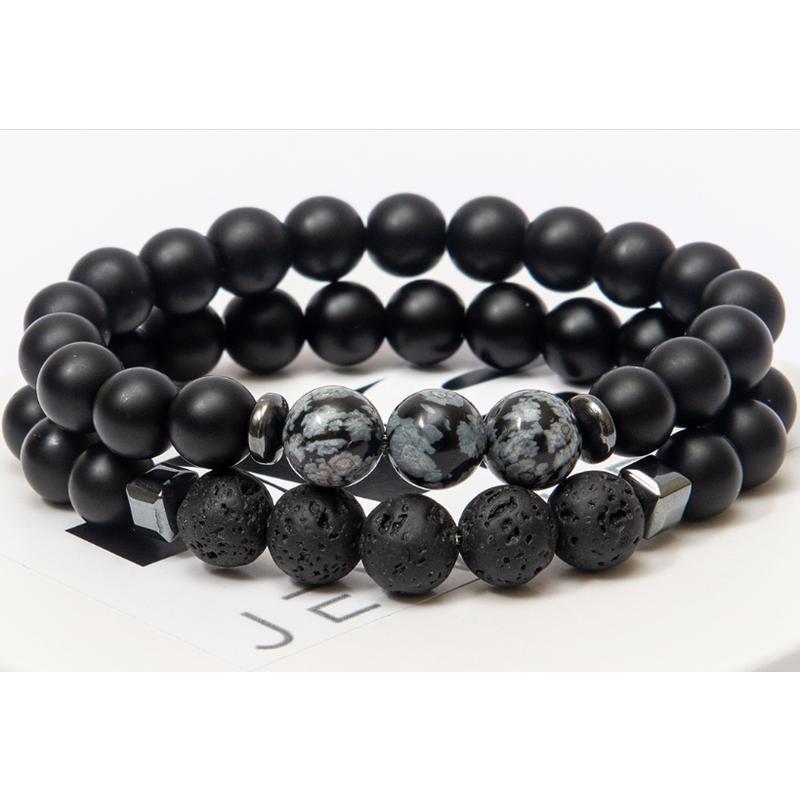 Парные браслеты DMS Jewelry из шунгита, обсидиана, лавового камня DOUBLE OBSIDIAN TRIPLE