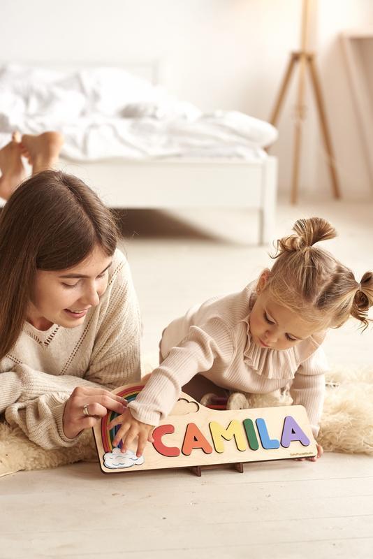 Радужная персонализированная головоломка из дерева, уникальный подарок для детей, декор для детской
