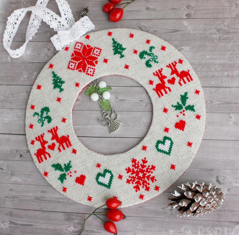 Большая новогодняя подвеска венок Елочное украшение скандинавский стиль Рождественский декор