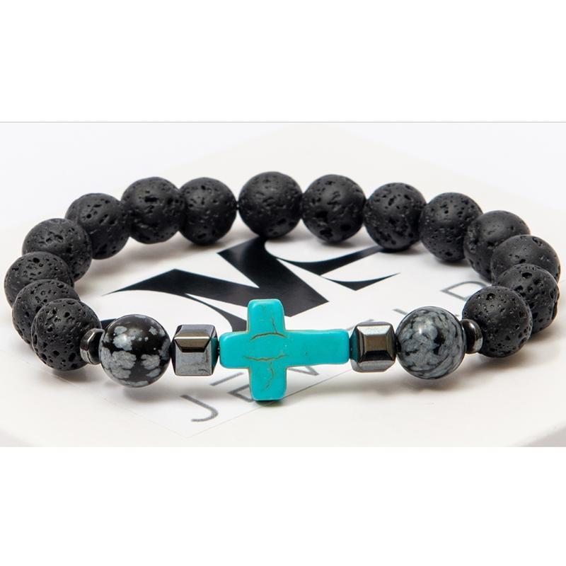 Браслет DMS Jewelry из лавового камня, обсидиана с бирюзовым крестом GREY CROSS