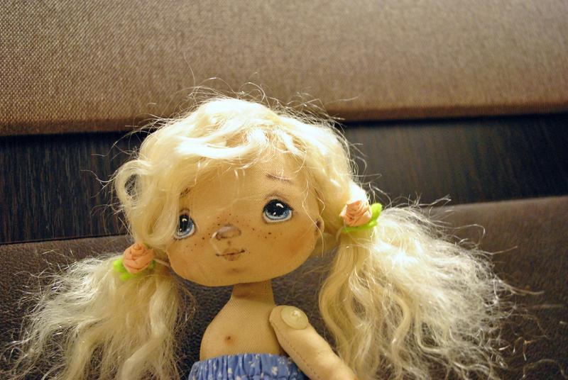Кукла интерьерная текстильная  в бирюзовом