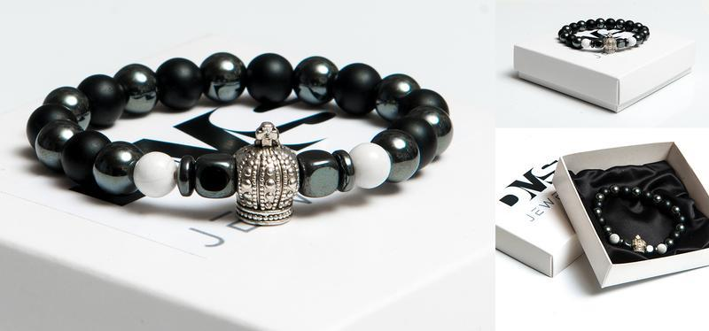 Браслет DMS Jewelry из натуральных камней шунгита, гематита, кахолонга со шлемом CROWN