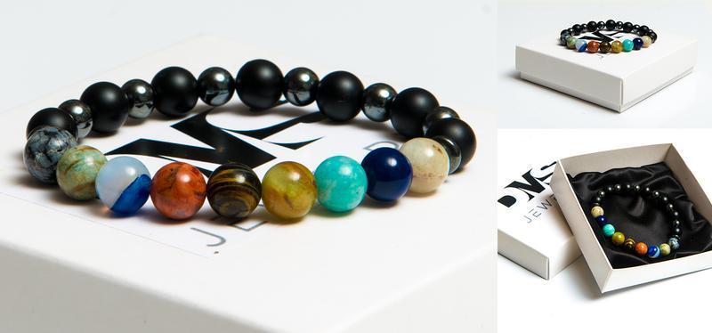 Браслет DMS Jewelry из натуральных камней шунгита, гематита, разноцветные камни ПЛАНЕТЫ