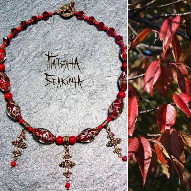 """Дизайнерское традиционное ожерелье с натуральными кораллами и бусинами лэмпворк  """"ПОДИХ МРІЇ"""""""