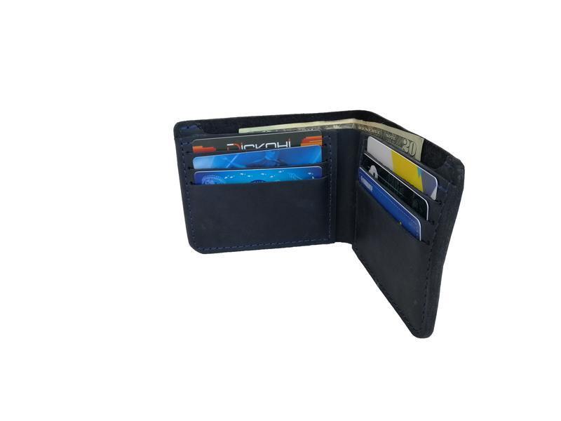 Шкіряний синій гаманець х10 (10 кольорів)