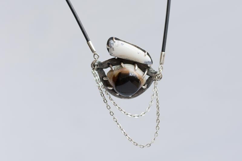 Подвес кахалонг, глазковый агат - подвес оберег - подвеска с жемчужным опалом