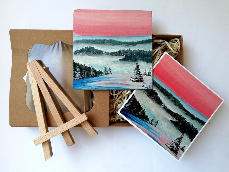 Мініатюра маслом зимова долина, Маленька картина маслом, Декоративний магніт, Авторська робота