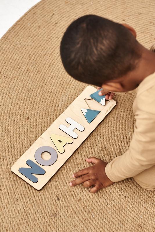 Детская деревянная игрушка монтессори - Декор для комнаты - Персонализированные детские пазлы