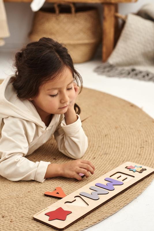 Детский именной пазл - Подарок для детей на день рождения - Игрушки Монтессори