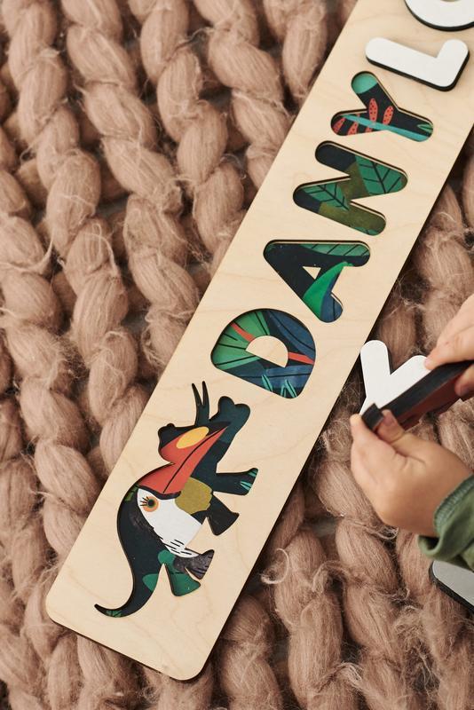 Подарок ребенку на 2 года - деревянная игрушка монтессори - именной детский пазл