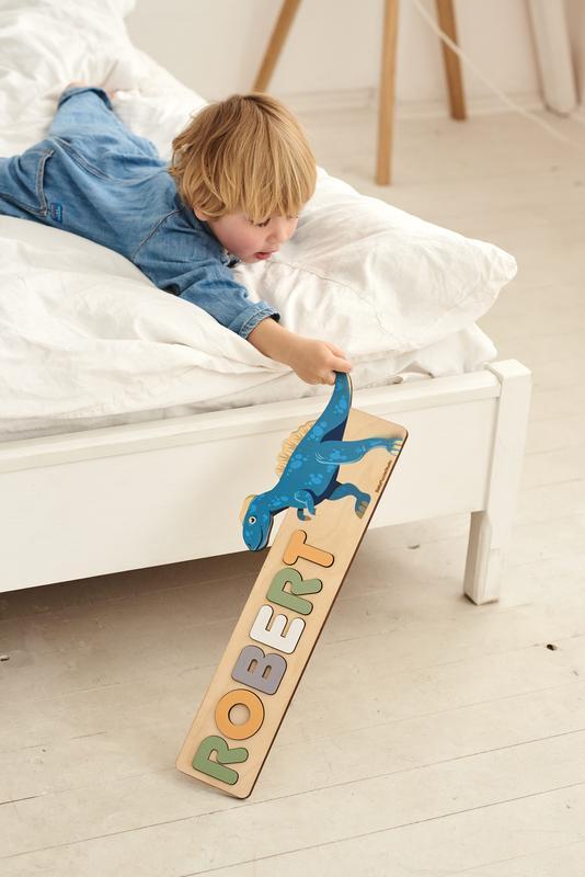 Дино пазл сортер букв - именной подарок для ребенка - деревянная игрушка дино (динозавр)
