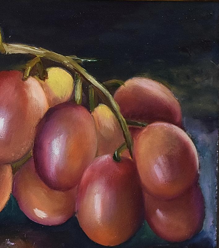 Виноград, живопись,миникартина, размер полотна 20х20см