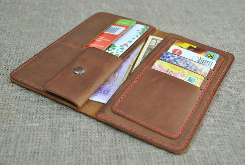 Стильный портмоне из натуральной кожи  K13-210+red