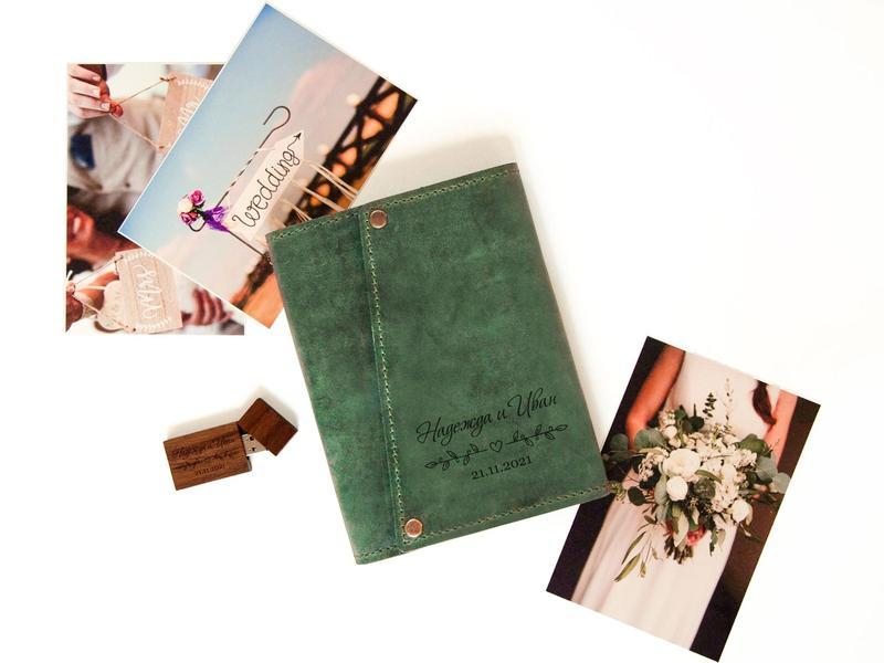 Коробка для фотографий из кожи на 50 фотографий на заказ