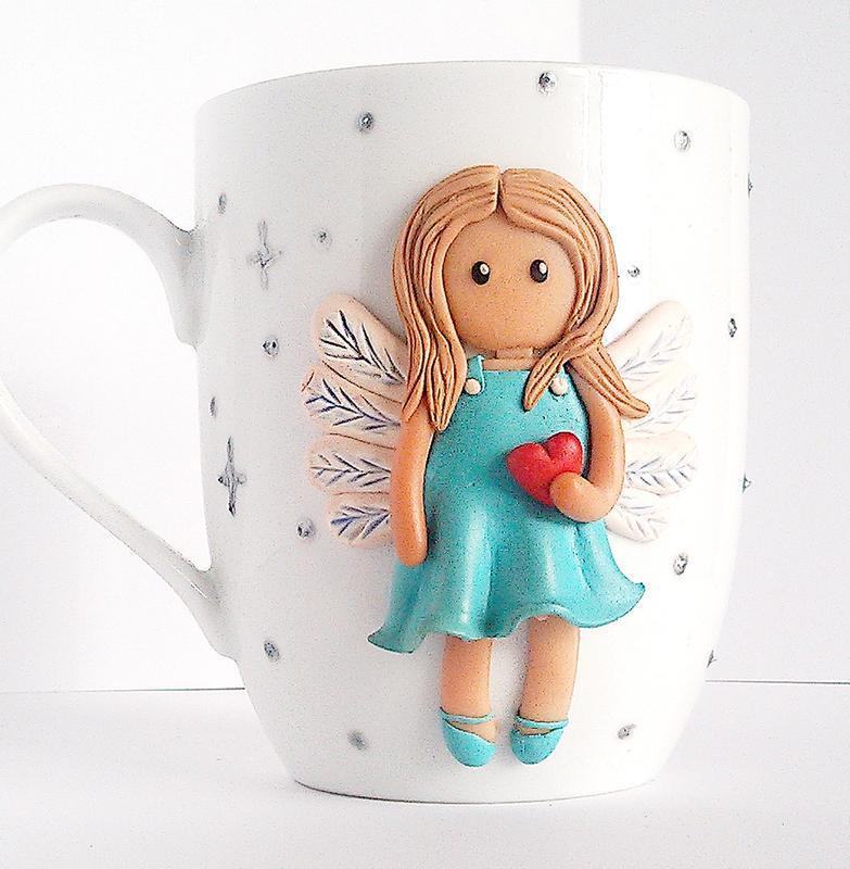 """Чашка декорована полімерною глиною """"Різдвяний янгол"""" Подарунок на новий рік різдво"""