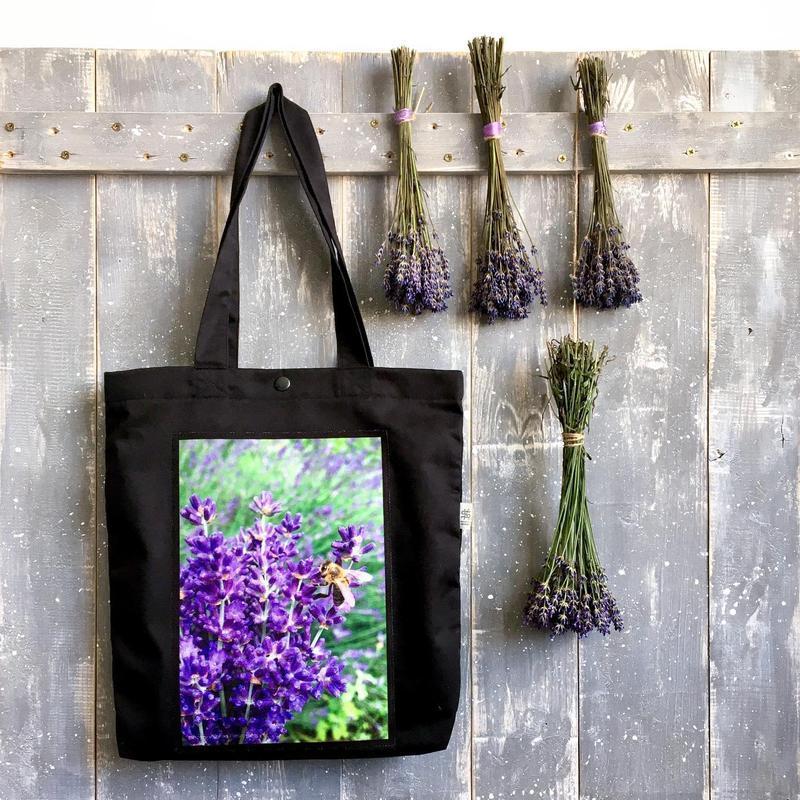 Арт шоппер с фото принтом Лаванда, черная эко-сумка с карманом, сумка для покупок, торба, авоська