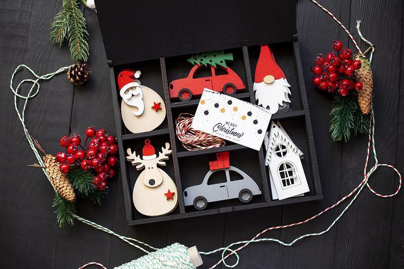 Набор деревянных игрушек в коробке Merry Christmas