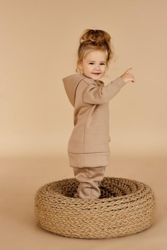 Утепленный костюм для девочек с худи и штаны на байке