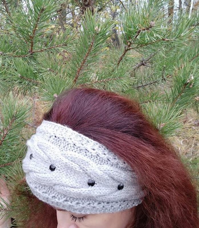 Вязаная повязка на голову. Теплая повязка. Вязаная повязка ручной работы