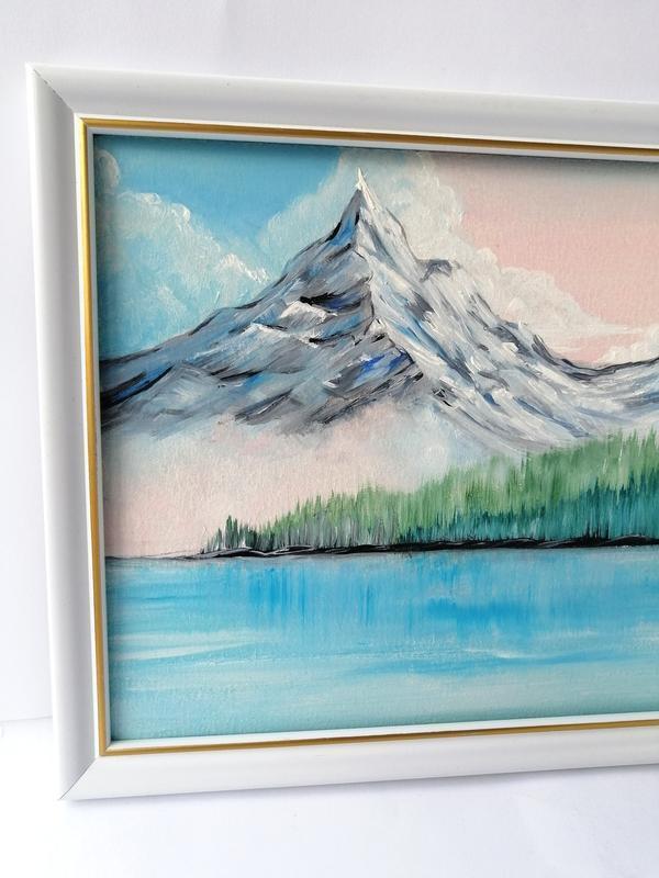 Картина маслом горное озеро, Горный пейзаж, Авторская живопись, Картина с горой и озером