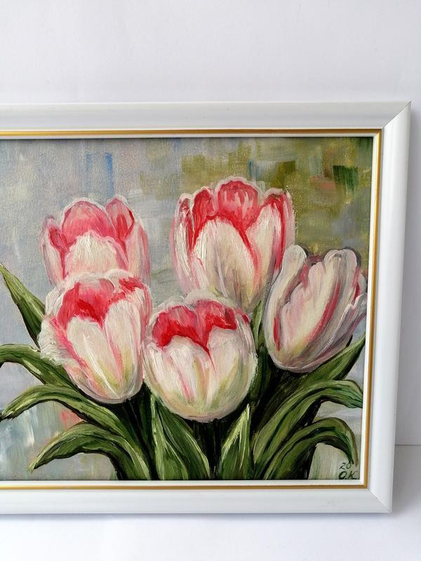 Картина маслом тюльпаны, Картина цветы, Белые тюльпаны, Красивые тюльпаны, Картина на подарок