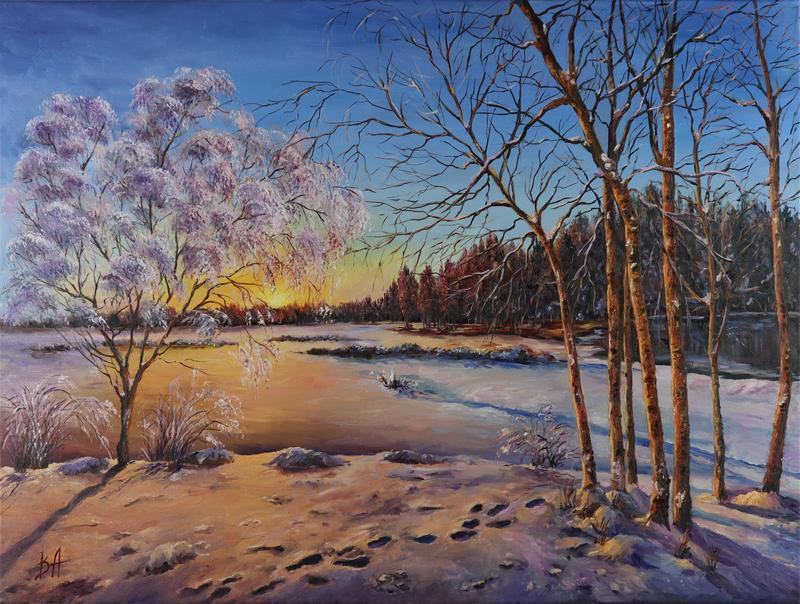"""Картина маслом """"Зимнее утро"""" 45х60 см, холст на подрамнике, масло"""