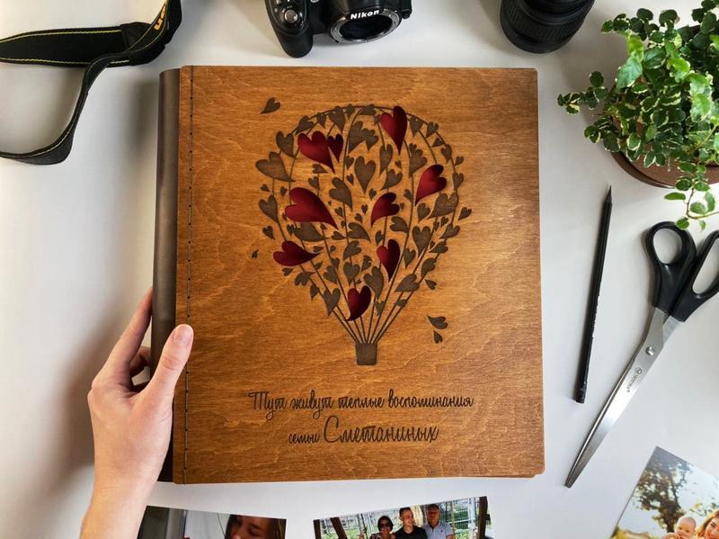 Фотоальбом с дерева   Подарок на свадьбу   FILWOOD   Альбом для фото