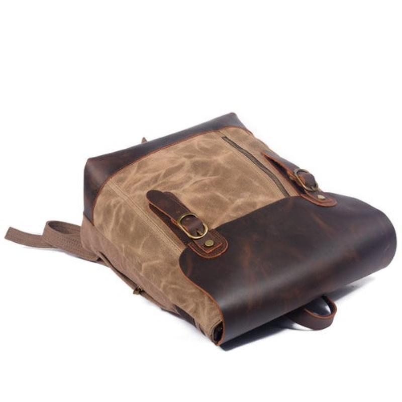 Стильный универсальный городской рюкзак Scout. Кожа и вощеный канвас.