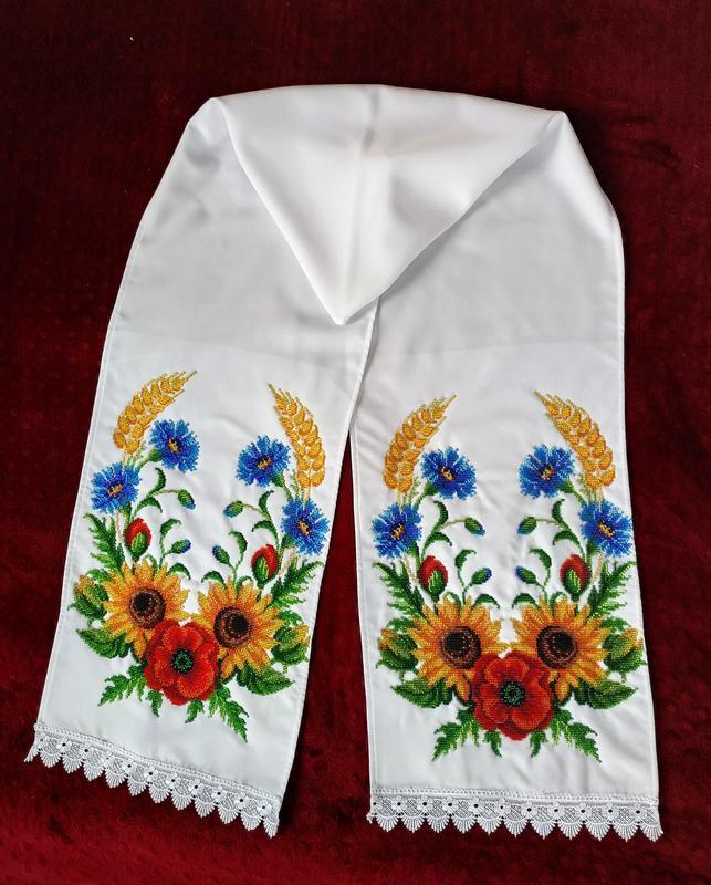 Шикарный рушник вышит бисером, свадебный рушник, рушник на свадьбу