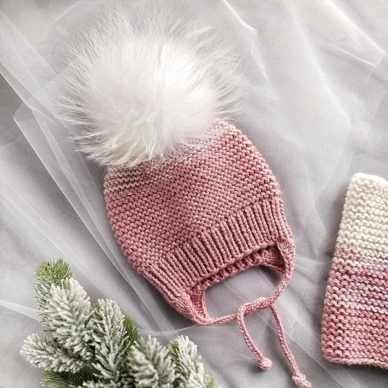 Детский комплект шапка с помпоном и снуд