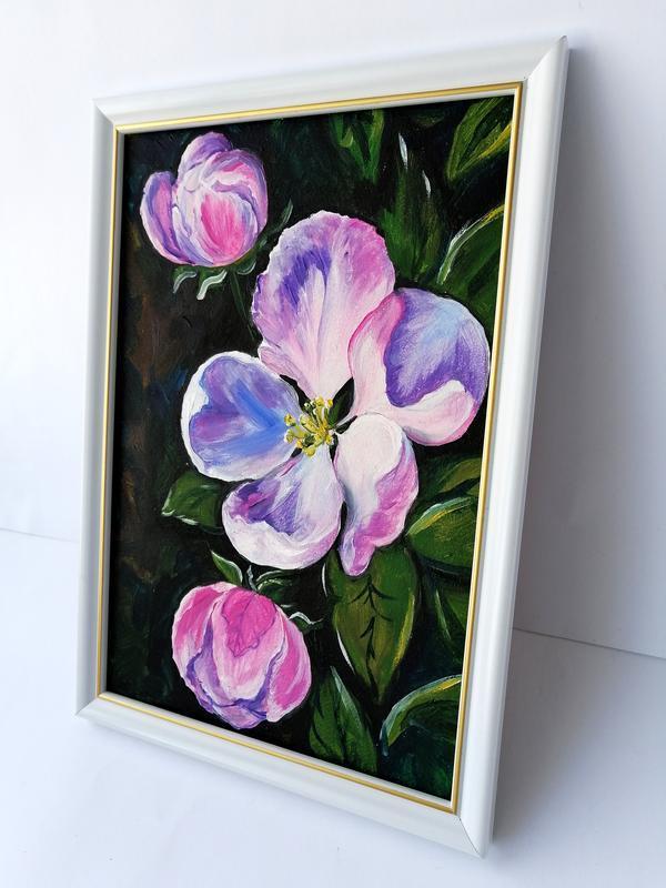 Картина маслом цветы яблони, Картина с цветами, Цветение яблони