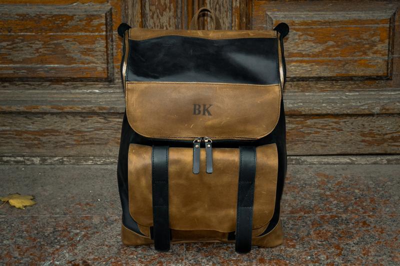 Стильный кожаный рюкзак Калифорния. Городской рюкзак