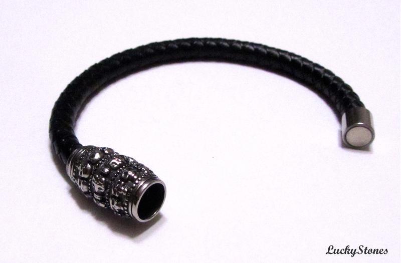 Мужской браслет из натуральной кожи, замок из нержавеющей стали.